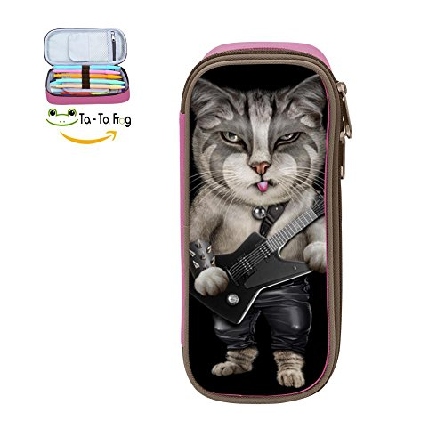 Metalcat Cat Pencil Case Pen Bag Durable Students Funny Stationery Double Zipper Pink