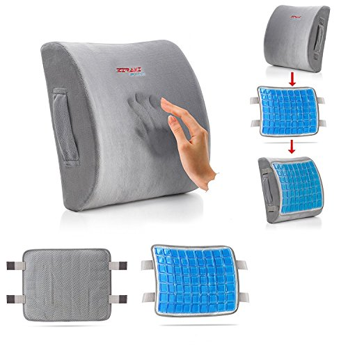 5 in 1 Lumbar Support Memory Foam Cushion ideal Gift,- New Feature No Sweat - Cooling Gel Pad Premium, Lower Back Pain Support, Protect & Soothe Your Back, Improve Your - Features Slip