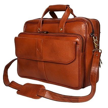 ec0557a10fd2 Amazon.com: Yark Genuine Leather Laptop Bag/Briefcase Fits Upto 15.6 ...
