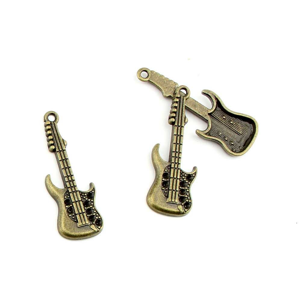 Joyería de bronce antiguo encantos fl1741 guitarra eléctrica Craft ...