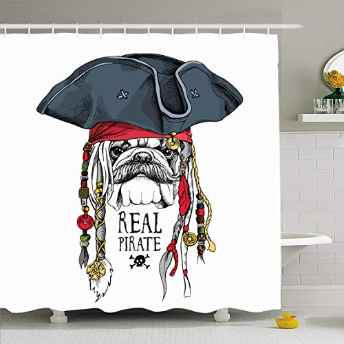 Ahawoso Shower Curtain 60x72 Inches Fun Funny Bulldog Pirate Hat Bandana Dreadlocks Dog Head Headband Sailor Canine Waterproof Polyester Fabric Set with Hooks]()