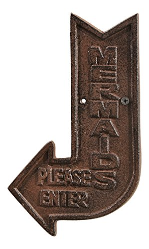 Please Enter Directional Arrow Wall Plaque Cast Iron 9 Inches ()