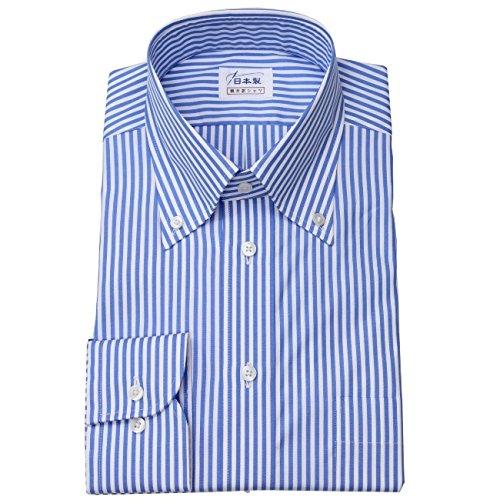 ワイシャツ メンズ長袖(ドレスシャツ)ボタンダウン 80番手双糸 ブルーロンドンストライプ 軽井沢シャツ [A10KZB408] B011BKUOGC 首回り:47 裄丈:91|スリム型 スリム型 首回り:47 裄丈:91