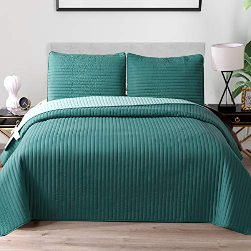 "Exclusivo Mezcla Ultrasonic Reversible 2-Piece Twin Size Quilt Set with Pillow Shams, Lightweight Bedspread/Coverlet/Bed Cover - (Teal, 68""x88"")"