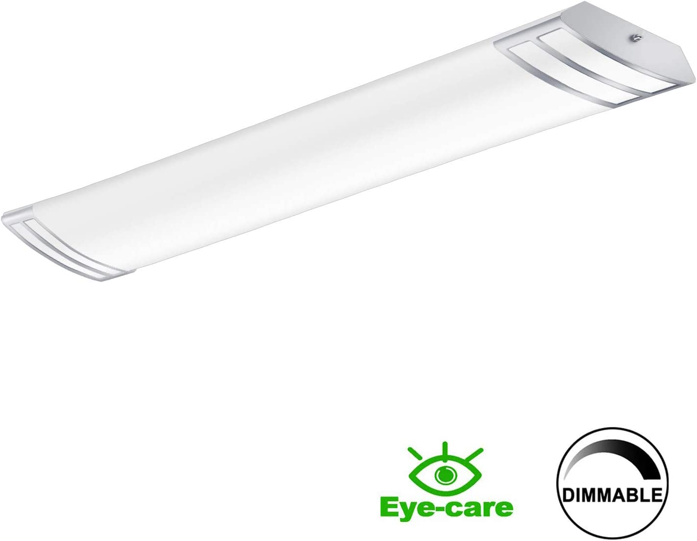 FaithSail 4FT LED Light Fixture 50W 5600lm Flush Mount Linear Lights, 4000K, 1-10V Dimmable, 4 Foot LED Kitchen Lighting Fixtures Ceiling for Craft Room, Laundry, Fluorescent Replacement