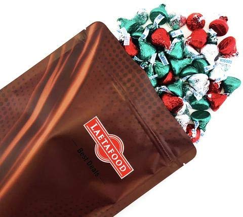LaetaFood Bag - Hershey's Kisses Milk Chocolate, Christmas Edition, Red Green Silver Foils (Pack of 2 Pound)]()