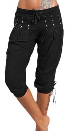 ShuangRun Pantalones de chándal con Bolsillos para Mujer Negro ...