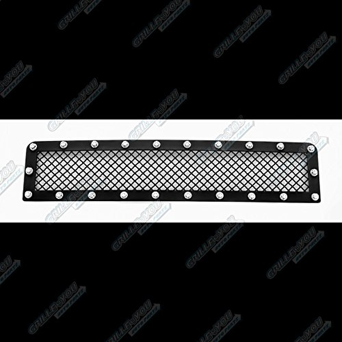 APS Compatible with 2003-2007 Hummer H2 Stainless Steel Bumper Black Mesh Rivet Studs Grille CL6580H