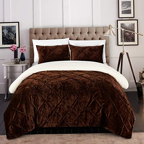 Hemau Premium New Soft 3 Piece Josepha Pinch Pleated Ruffled and Pin Tuck Sherpa Lined Queen Bed in a Bag Comforter Set Brown | Style 503195324 -