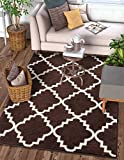 Harbor Trellis Brown Quatrefoil Geometric Modern Casual Area Rug 5x7 ( 5'3'' x 7'3'' ) Easy to Clean Stain Fade Resistant Shed Free Contemporary Traditional Moroccan Lattice Soft Living Dining Room Rug