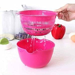 Wash rice and drain basket plastic basket plastic fruit and vegetable,2/group Random Color
