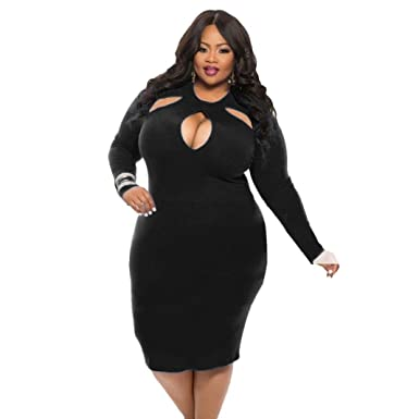 Hot Sale Wuyimc Plus Size Dress Womens Sexy Long Sleeve Hollow