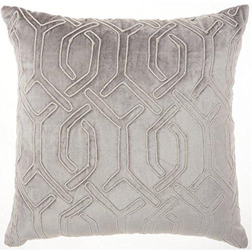 ON 1 Piece 18 x 18 Dark Grey Geometric Throw Pillow, Elegant Rhinestone Bead Embroidered Interlock Pattern Contemporary Modern Graphic Print Couch Decor Cushions Seat Pillows Zipper Closure, Velvet (Interlock Embroidered)