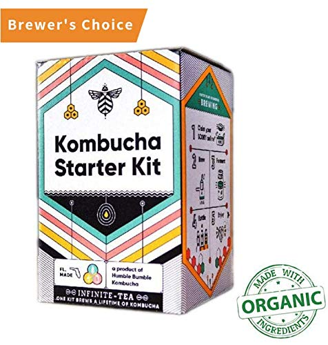 Craft A Brew Starter Complete Kombucha Making Kit - Including 1 Gallon Glass jar, SCOBY, Tea, Organic Sugar and Guide to Brewing, White