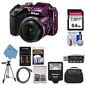 51%2BBdd43dDL. SS300  - Nikon COOLPIX B500 Digital Camera (Plum) with Ultimate Accessory Bundle - Includes: SanDisk Ultra 32GB SDHC Memory Card, Rechargeable Batteries (AA) & Dock Charger, Digital Slave Flash & Much More