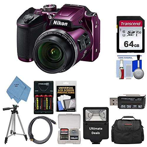 Nikon COOLPIX B500 Digital Camera (Plum) with Ultimate Accessory Bundle – Includes: SanDisk Ultra 32GB SDHC Memory Card, Rechargeable Batteries (AA) & Dock Charger, Digital Slave Flash & Much More