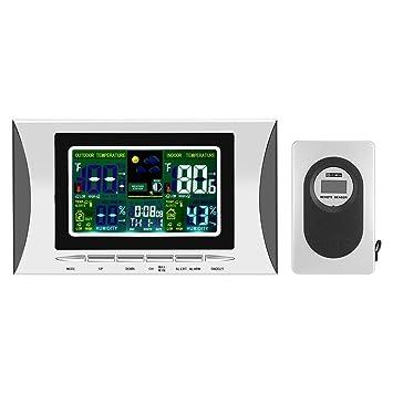 LCD Digital reloj estación meteorológica humedad temp sensor alarma funciona con pilas reloj termómetro higrómetro de pantalla con al aire libre más remotos ...