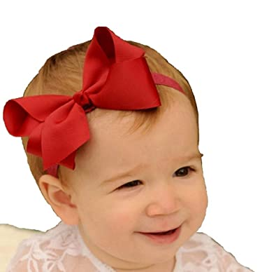 Ziory 1pcs Red Kids Big Bow Hair Accessories Kids Elastic Hair Band Girls  Red Baby Girl Baby Boy Unisex Newborn Bow Knot Hair Band Elastic Bow  Headband Kids ... ba12cc16623