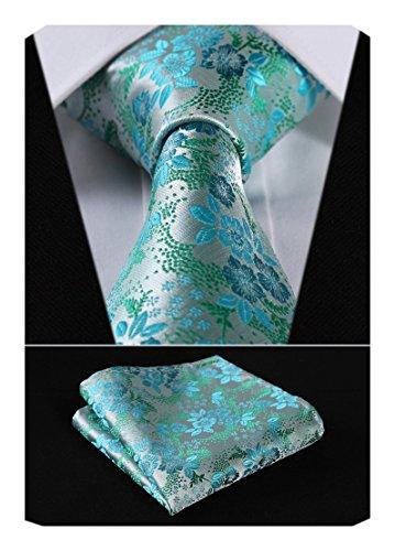 - HISDERN Men's Floral Tie Handkerchief Jacquard Woven Classic Men's Necktie & Pocket Square Set Aqua/Green