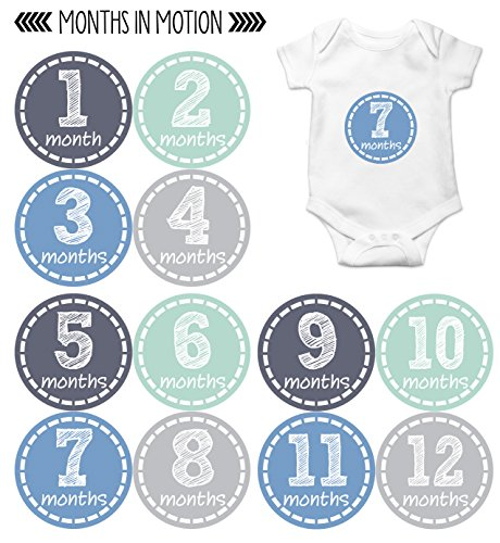 Baby Month Stickers by Months In Motion | 12 Monthly Milestone Stickers for Baby Boy (115)