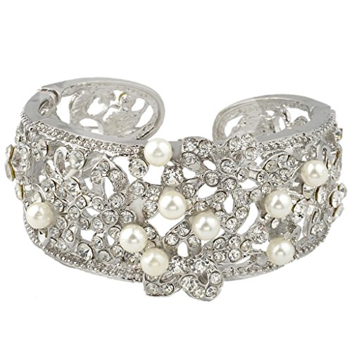 (EVER FAITH Austrian Crystal Cream Simulated Pearl Bridal Hibiscus Flower Cuff Bracelet Clear)