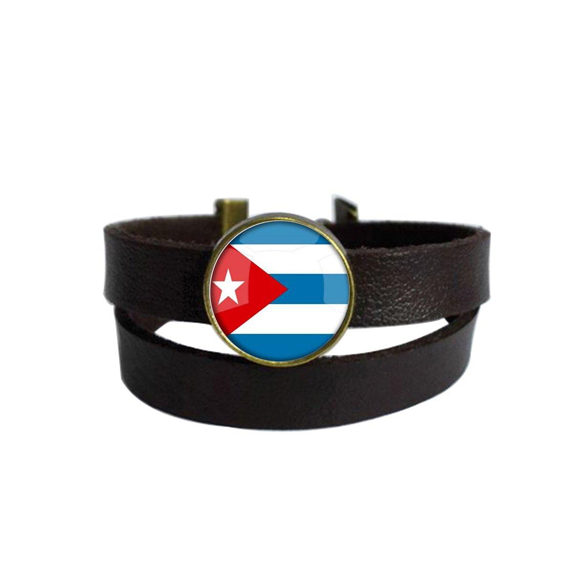 LooPoP Vintage Punk Dark Brown Leather Bracelet The Republic Of Cuba National Flag Belt Wrap Cuff Bangle Adjustable