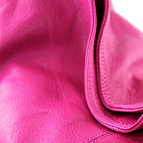 Made Italy - Bolso al hombro de cuero para mujer Rosa
