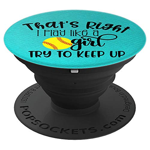 Softball Pitcher I Throw Like A Girl Cute Sports Team Player PopSockets Grip and Stand for Phones and Tablets