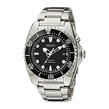 Seiko SKA371 Kinetic Dive Men's Watch with Japanese Quartz, Stainless Steel Silver