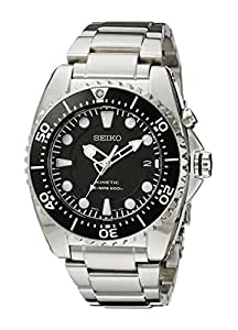 Seiko Men's SKA371 Kinetic Dive Analog Japanese Quartz Stainless Steel Silver Watch