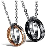 M-Tree His and Hers Couples Necklaces - Titanium Stainless Steel Fashion Matching Relationship Necklace