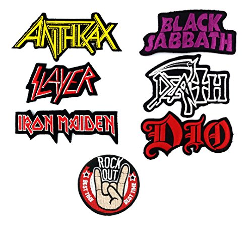 Set_ROCK027VS - Anthrax, Slayer, Iron Maiden, Black Sabbath, Dio, DEATH Music Songs Rock and Rock Out Patch (6+1 Pcs Heavy Metal Punk Rock Applique Embroidered Patches - Rock Band Iron on (Metal Eye Patch)