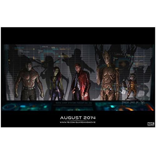 Photo Webpage (Guardians of the Galaxy 8 inch x 10 inch PHOTOGRAPH Full Cast Promo Poster Photo with Release Date and Webpage Information Below Mid D)