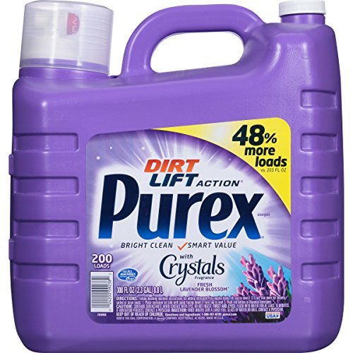 Purex Ultra Concentrated Liquid Laundry Detergent with Crystals Fragrance, Fresh Lavender Blossom, 300 oz (200 loads)