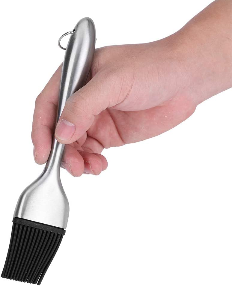 Silicone Brush with Stainless Steel Handle for Baking Barbecue BBQ Roast 20cm Lyrlody