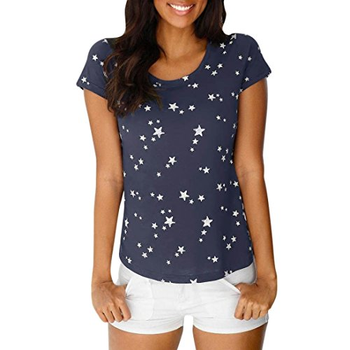 (CUCUHAM Fashion Women Summer Loose Short Sleeve Star Printed Casual T-Shirt Blouse Tops (M, Navy))