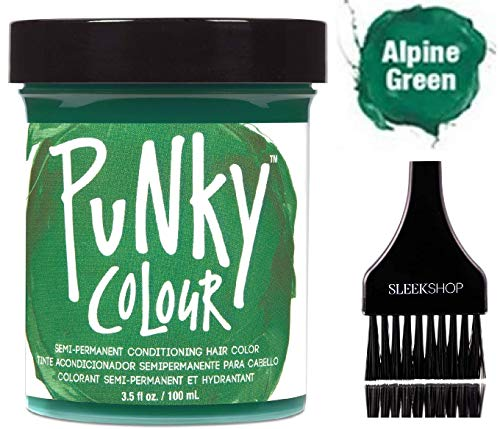(PUNKY COLOUR The Original SEMI-PERMANENT Conditioning Hair Color Dye by Jerome Russell (w/Sleek Tint Brush) Haircolor 3.5 oz / 100 ml (Alpine Green))