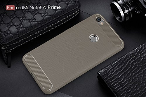 Funda XiaoMi RedMi Note 5A Prime,Carcasas XiaoMi RedMi Note 5A Prime Gel TPU Silicona Flexible Fibra De Carbono Ultra Delgado Ligero Goma Case Cover Caja Suave Gel Shock Absorción Anti Rasguños Anti C Gris
