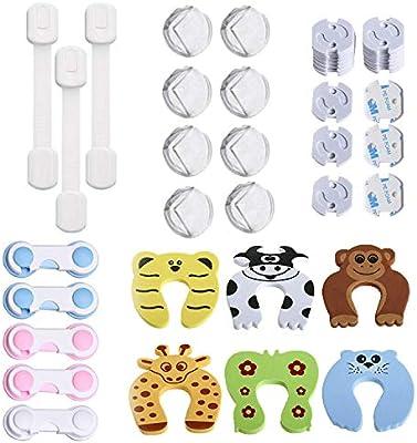 42 Pcs Kit de Seguridad para Bebés, (20 Protector Enchufes, 8 Bebé de Seguridad Bloqueo, 8 Protector de Seguridad para Niños, 6 Protectores Puertas ...