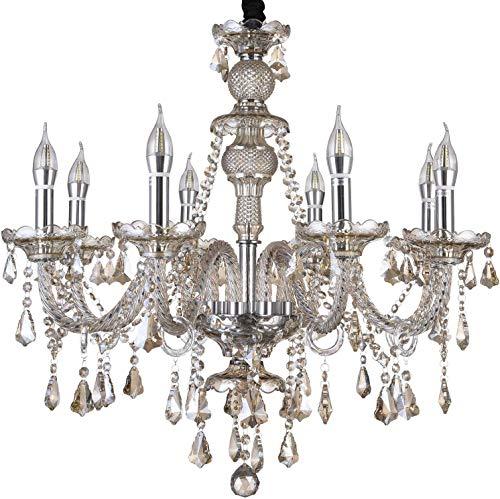 HOMWEERUN LED E12 LED 3 Brightness Cognac Colour Crystal Candle Chandelier Ceiling -