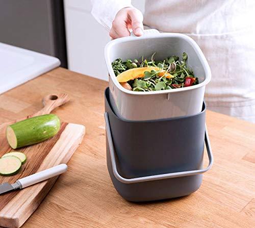 HARRA HOME cubo de basura de doble capa con tapa, contenedor ...