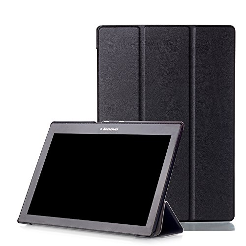 "ATNG Lenovo Tab 2 A10/ Lenovo TAB-X103F Tab 10 Case, Ultra Slim Lightweight Tri-Fold Cover for Lenovo Tab 2 A10-70/ Tab 2 A10-30/ Tab 3 10 Business TB3-X70/ TAB-X103F Tab 10 10.1"" Tablet,Black"
