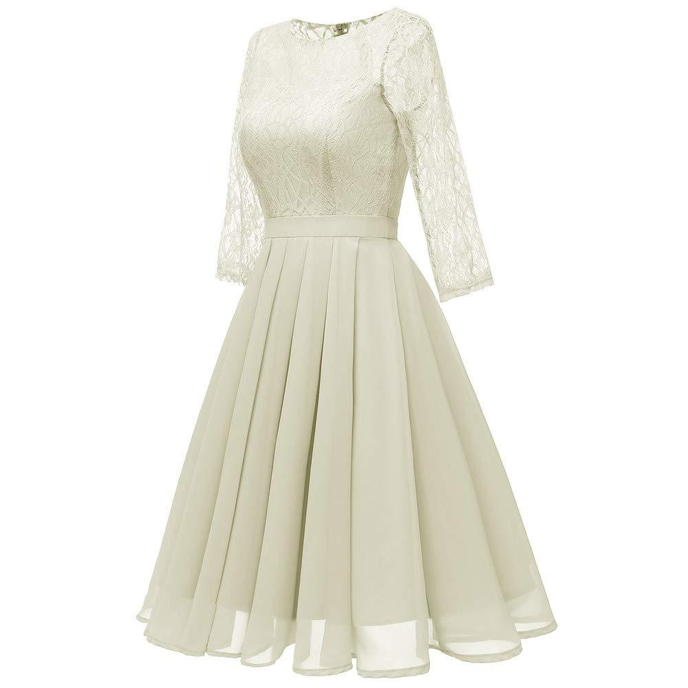 b50ab434b8 Robes BaZhaHei Robe Femme de Soirée Floral Dentelle Élégante O-Neck Col V  Genou Longueur Robe ...
