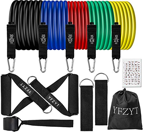 YFZYT Resistance Bands Set,Workout Bands with Handles for Men Women 11pcs Exercise Bands Stackable Heavy Resistance…