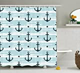Anchor Shower Curtain Anchor Shower Curtain by Ambesonne, Pattern with Anchors Modern Stylized Adventurous Striped Coastline Marine, Fabric Bathroom Decor Set with Hooks, 75 Inches Long, Pale Blue Dark Green