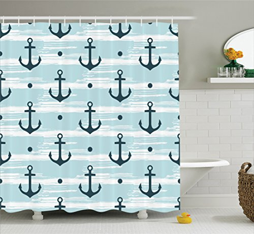Ambesonne Anchor Shower Curtain, Pattern with Anchors Modern