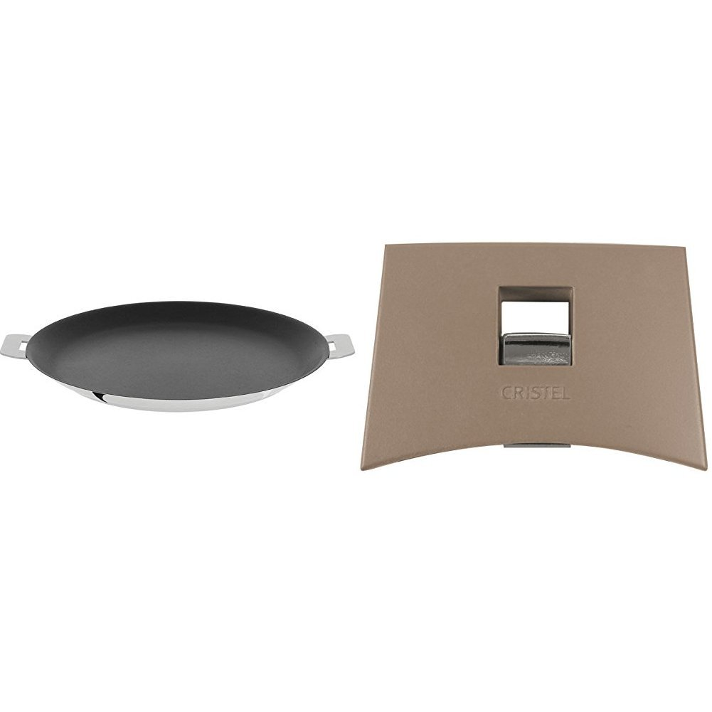 Cristel CR30QE Non-Stick Crepe Pan, Silver, 12'' with Cristel Mutine Plmat Side Handle, Taupe