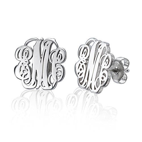 Monogram Stud Earrings in Silver- Custom
