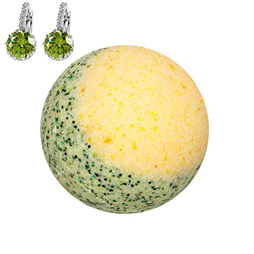 Addicted to Soap - Lime Green Earrings Jewelry Bath Bomb | Ultra Luxurious - Extra Large 6oz Bath Bomb with STERLING SILVER Surprise Inside - Organic & Sensual Relaxation Handmade with Love Texas