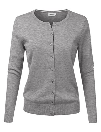 - NINEXIS Women's Long Sleeve Button Down Soft Knit Cardigan Sweater HEATHERGREY M